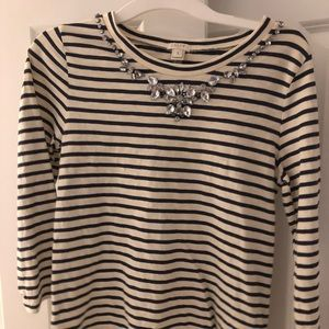 SIZE SMALL J. Crew Striped Embellished Top